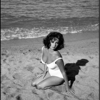 "Spain. Sagaro. 1959. Twenty-five-year-old Elizabeth Taylor on the set of ""Suddenly Last Summer"", in which she co-stars with Katharine Hepburn and Montgomery Clift. It is Taylor's first film after the death of her 3rd husband, Mike Todd, in a plane crash.  art for sale"