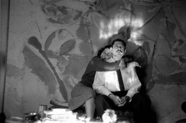 USA. New York City. 1957. Painter Helen Frankenthaler and sculptor David Smith in Frankenthaler's studio., by Burt Glinn