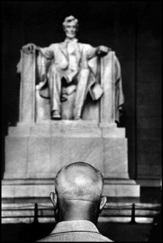 USA. Washington, D.C. 1959. Nikita Khrushchev in front of the Lincoln Memorial., by Burt Glinn