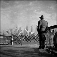 USA. New York City. 1951. View of Lower Manhattan from the Staten Island Ferry., by Burt Glinn
