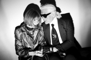 Italy. Milan. February 2008. Karl Lagerfeld and Anna Wintour chat backstage of the Fendi show, by Christopher Anderson