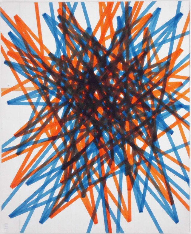 David Moreno, One Forward Two Back Blue Orange