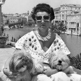 Venice. Mrs Peggy Guggenheim in her palace on the Grand Canal. 1950