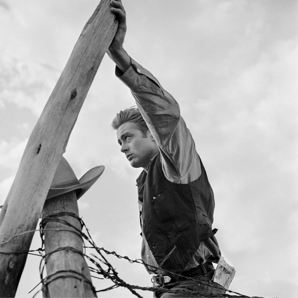 "Frank Worth, James Dean Hand on Post Set of ""Giant"""