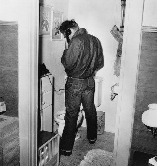 James Dean in Restroom, by Frank Worth