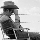 "James Dean Seated Behind Fence Set of ""Giant"""
