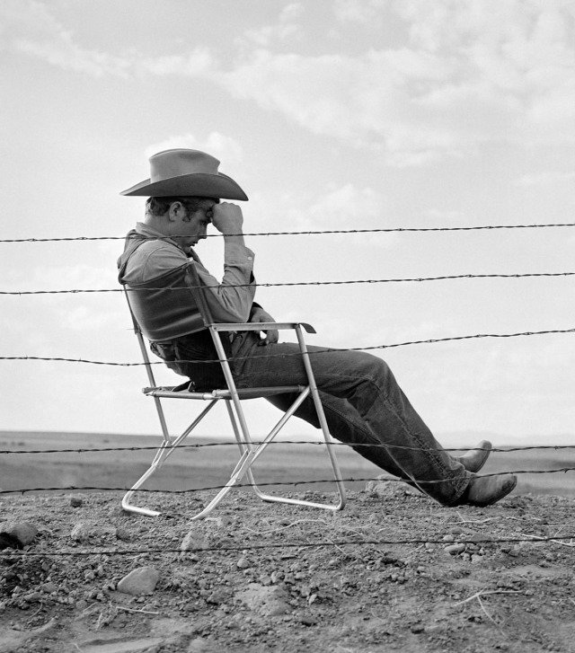 "Frank Worth, James Dean Seated Behind Fence Set of ""Giant"""