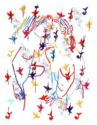 Superman And The Birds, by Ghada Amer