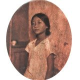 Hung Liu, Village Portrait-Little Swan, Gold