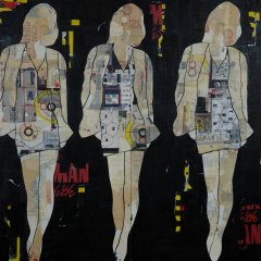 Jane Maxwell Three Walking Girls Black art for sale