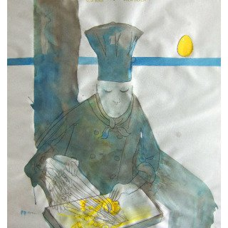 Blue Chef art for sale
