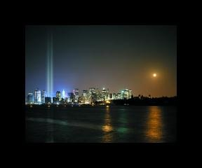 Julian LaVerdiere and Paul Myoda Tribute in Light Over Ellis Island art for sale
