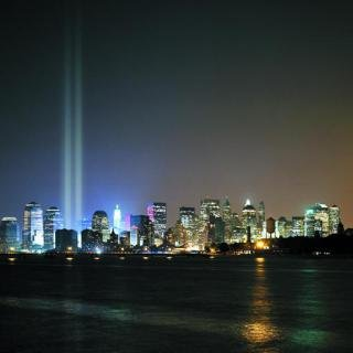 Tribute in Light Over Ellis Island art for sale