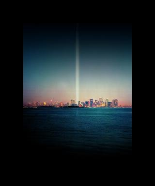 Tribute in Light Over Liberty Island artspace, by <a href='/site-admin/artists/artist/278'>Julian LaVerdiere and Paul Myoda</a>