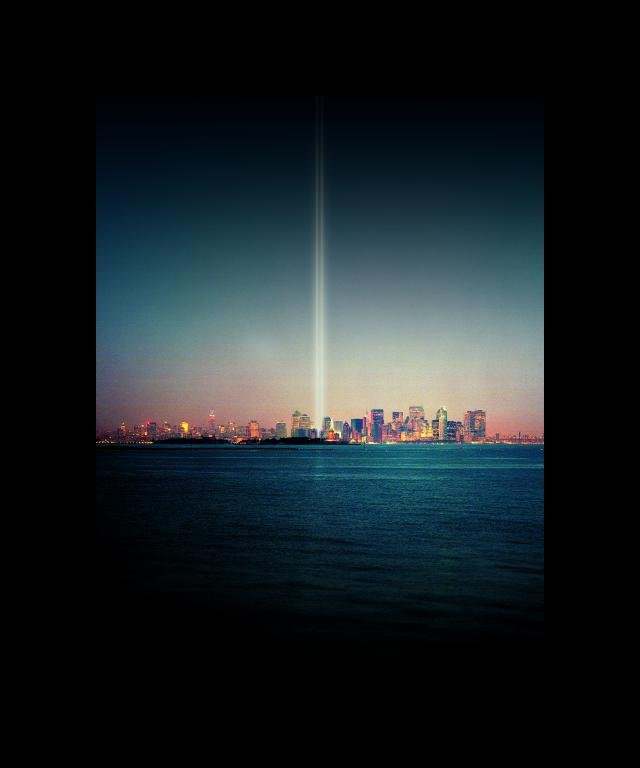 Julian LaVerdiere and Paul Myoda, Tribute in Light Over Liberty Island artspace