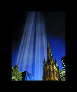Julian LaVerdiere and Paul Myoda Tribute in Light Over Trinity Church art for sale