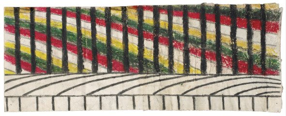 Martín Ramírez Untitled (Abstraction with Yellow, Green, and Red) art for sale