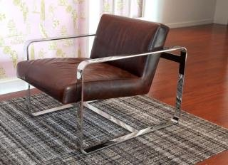 1. Mitchell Gold + Bob Williams Armand Leather Chair&lt;br&gt; Stainless Steel Finish&lt;br&gt; Color: Brown&lt;br&gt; 29&quot;W x 33&quot;D x 32&quot;H&lt;br&gt;$995 