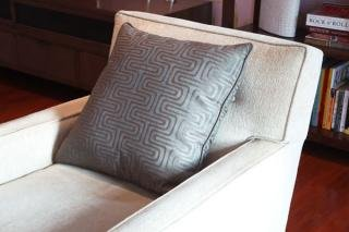 20. Patterned Throw Pillow (sold as a pair)&lt;br&gt; Color: Grey Patterned&lt;br&gt; 21&quot;Wx21&quot;L&lt;br&gt; $50 